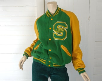 Vintage Letterman's Jacket- Green & Gold- 1970s / 70s- High School Varsity- Size 42- Wool + Leather