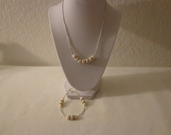 Vintage Fresh Water Pearl with Rhinestones Necklace and Bracelet