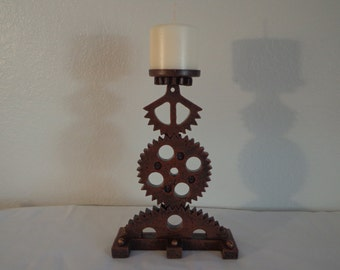 Handcrafted Steampunked Candle Holder