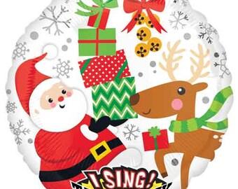 "Singing Balloon, Christmas Balloon, Santa Balloon, Reindeer Balloon, Holiday Party, Christmas Party, Party Decoration, Party Decor, 28"""
