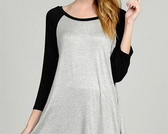 A Line Baseball Long Sleeve Top Tunic (Made in USA)