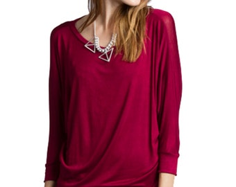 T2160 3/4 Sleeve Dolman Top