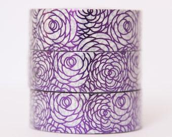 Washi tape foil tape purple roses