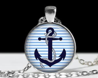 "Anchor Nautical Necklace-Blue Anchor-Sailor, Nautical, Rockabilly, Retro, Traditional, Classic-1"" Silver and Glass Pendant"