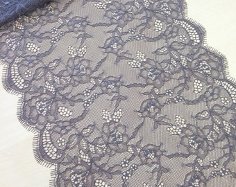 Gray with lilac shade   lace trimming,  Chantilly lace trim. lingerie lace  MK00158