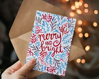 Pack of 4 Hand Lettered Christmas Cards - Red Turquoise and Grey