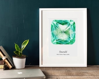 Emerald wall art, printable, chakra prints, gemstone wall art, Emerald wall decor, gem print, jewel print, wall decor, birthstone print