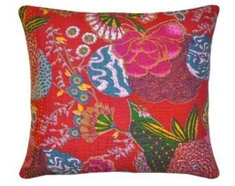 Red Kantha cushion with pad