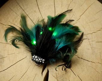 LED Feather Fascinator - green, blue, turquoise and black colour - illuminated hair accessory