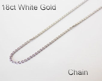 18ct 18K 750 Solid White Gold Chain Necklace Link Jewellery - PS39