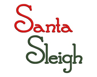 Santa Sleigh Machine Embroidery Font Monogram Letters, BX Embroidery Ready Format, Christmas Embroidery Font, Santa Embroidery Font