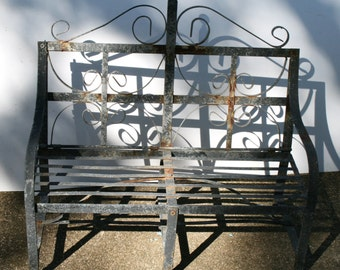Wonderful Vintage Small Garden Bench; Wrought Iron Mini Bench; Rusty Yard Decor; Plant