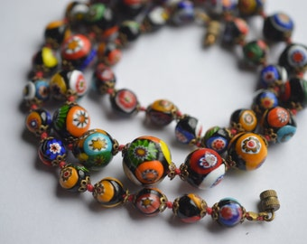 Venetian murano millefiori glass beaded necklace 24''