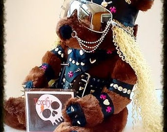Rocker Girl Leather Spiked n Studded Teddy Bear - Genuine handmade leather outfit