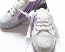 Customised White Plimsolls Trainer Shoes Size 5