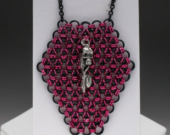 Pink and Black Chainmaille Coffin Gothic Necklace