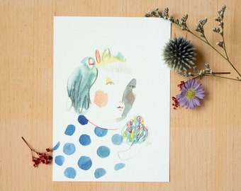 "Postcard  ""I want to buy you flowers"" - 《dodolulu》 - affordable art - watercolor drawing - quality postcard print"
