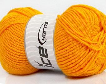 FREE SHIP Ice Yarn Lund Wool Yellow Worsted Aran