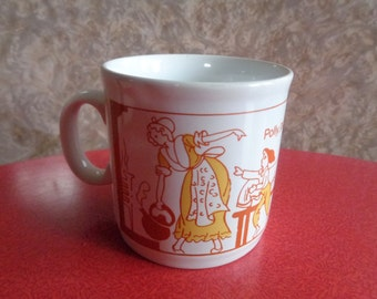 Vintage retro childs Nursery Rhyme mug depicting Polly Put The Kettle On. Made in England