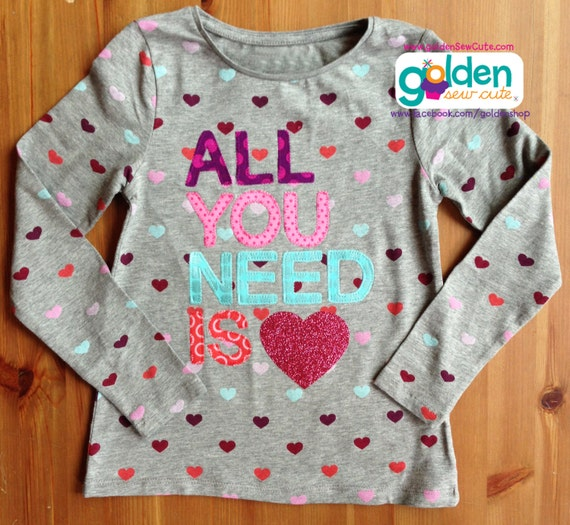 Valentine's Day All You Need is LOVE Glitter Heart tee