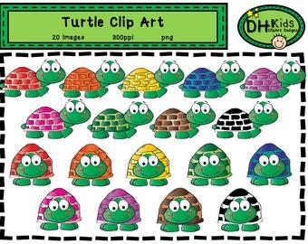 Turtle Clip Art - Bright Turtle Clip Art - Digital Download