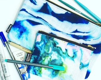 Patterned Zipper Pouch with Inside Pockets
