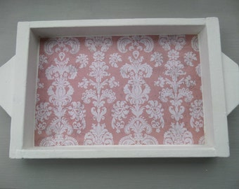 """Small Wooden Tray, Vintage 1960's Hand Made Tray, Upcycled in White Chalk Paint and Pink Damask Waxed Paper, 11.75"""" x 8"""" x  1.25"""""""