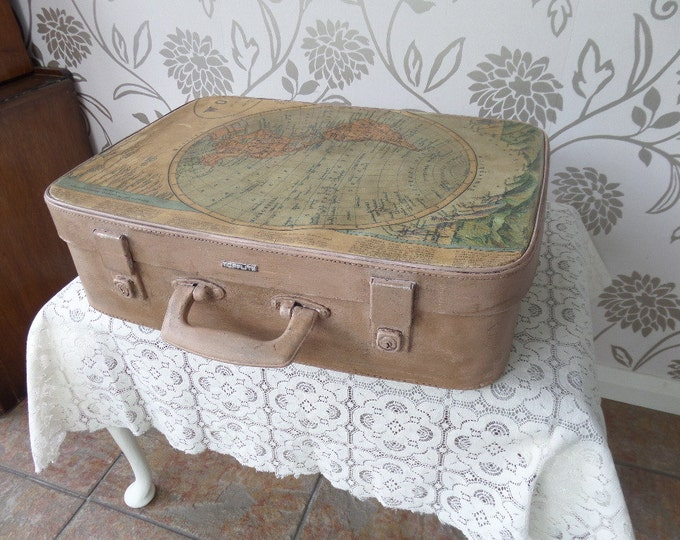 "Upcycled Suitcase, Vintage Mid Century Card Case with Keys, Illustrated Vintage World Map, Light Pink Chalk Paint, Dark Wax 19"" x 14.5"" x 6"""
