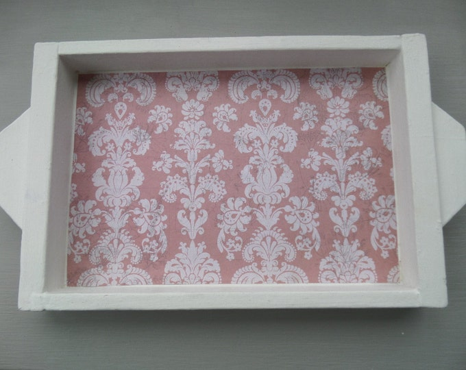 "Small Wooden Tray, Vintage 1960's Hand Made Tray, Upcycled in White Chalk Paint and Pink Damask Waxed Paper, 11.75"" x 8"""