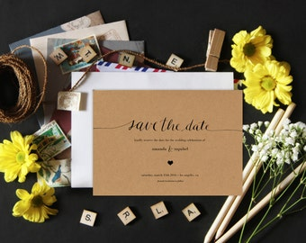 Personalized Printable Save-The-Date Wedding Invitations - Minimalist - Calligraphy