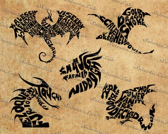 Digital SVG PNG dragon, dragon in literature, legend, mythology, silhouette, clipart, vector, instant download