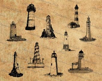 Digital SVG PNG lighthouse, light, sea, wedding, beach, summer, clipart, vector, silhouette, instant download