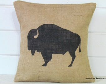 Buffalo Pillow- Burlap Pillow, Woodland Nursery Decor, Lodge Decor, Cabin Decor, Buffalo Silhouette, Animal Pillows, Western Decor, Bison