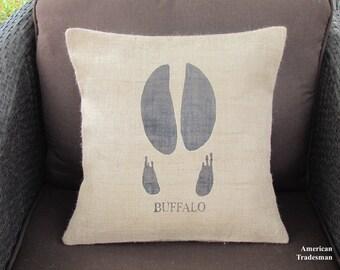 Burlap Pillow- Buffalo Hoof Pillow, Buffalo Pillow, Woodland Nursery, Lodge Decor, Animal Pillows, Cabin Decor