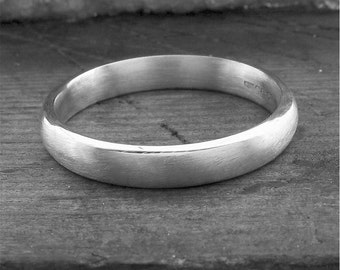 Wedding ring, silver court brushed finish 3mm wide for a woman