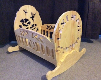 Handmade Personalised Dolls Cot - Made to Order