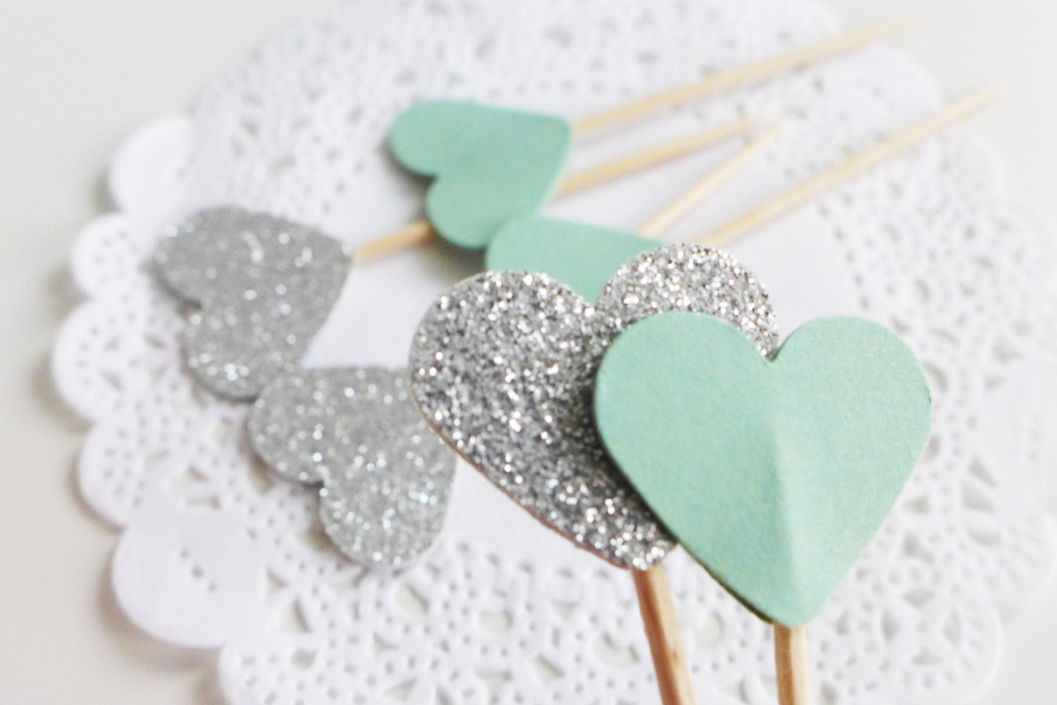 Silver and mint cupcake toppers baby shower party picks for Baby shower cupcake picks decoration