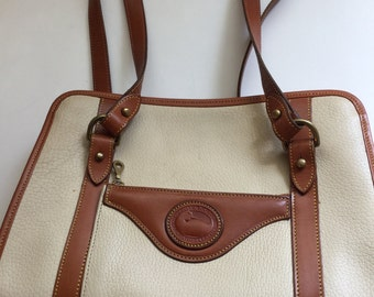 Vintage Dooney & Bourke Beige/Tan Leather Purse