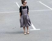 Womens Linen Overalls,  Gray, Oversized, Summer Skirt, Designer clothing, Linen Clothes SS16, Natural Flax