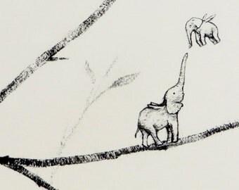 Elephant Bird Print