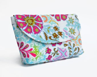 Small Make-up Bag, Phone Pouch, Cosmetic Bag, Makeup bag, Mini Clutch, White Bag, white pouch, patterned Bag, Small Bag, Small Pouch
