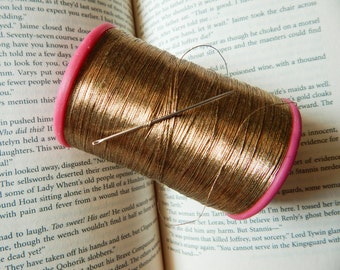 Gold Metallic Thread, Embroidery Thread, Hand and Machine Embroidery Thread, Metallic Embroidery Thread- 750 yards