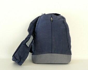 Vintage Navy Canvas Sling Back Shoulder Bag