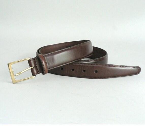 mens brown leather dress belt size 38
