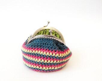 crochet  coin purse, crochet wallet, women accesories, colorfull multicolour coin purse, cotton purse, striped coin purse, gift for her