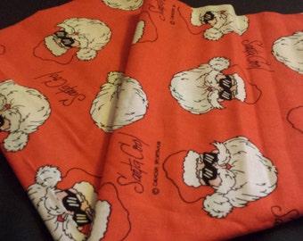 "Santa Cool Christmas Fabric Remnant, 1/2 yd - 44"" W"