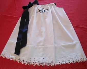 Girl White Pillowcase Dress Personalized Dress Christening Dress Baptism Dress Baby Dedication Dress Portrait Dress Flower Girl Dress