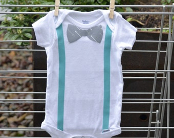 Baby boy bow tie and suspenders onesie