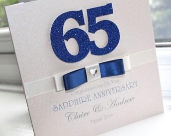 Personalised Handmade Sapphire 65th Wedding Anniversary Card by Charlotte Elisabeth A013
