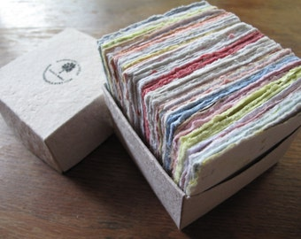 """100 sheets of 3"""" x 3"""" Writing Paper from handmade recycled paper/ Note paper box with 100 sheets of paper/ note pads/ Recyced Blank Cards"""